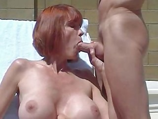 Blowjob Cumshot Facials Hot Mammy Mature Outdoor Redhead